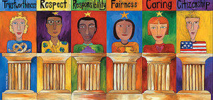 Drawing of Six People on Six Pillars With The Text Trustworthiness, Respect, Responsibility, Fairness, Caring, Citizenship