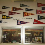 Close Up of College Pennants on Bonillas Pennant Wall