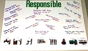 Student Drawn Poster With The Text Responsible