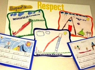 Poster With Children's Drawings With the Text Respect